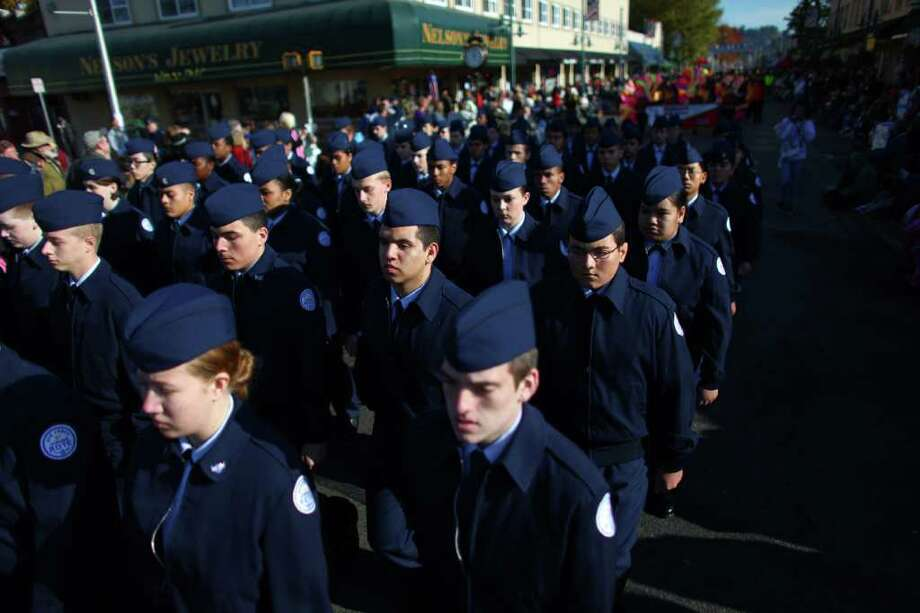 Air Force Junior ROTC members march during the regional Auburn Veterans Day Parade. Photo: JOSHUA TRUJILLO / SEATTLEPI.COM