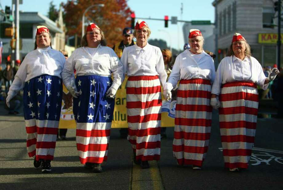 From left, Patti Kerrigan, Janeil Post, Diane Sifres, Judy Skaggs and Maggie Hulse of the White Center Fraternal Order of Eagles march during the parade. Photo: JOSHUA TRUJILLO / SEATTLEPI.COM