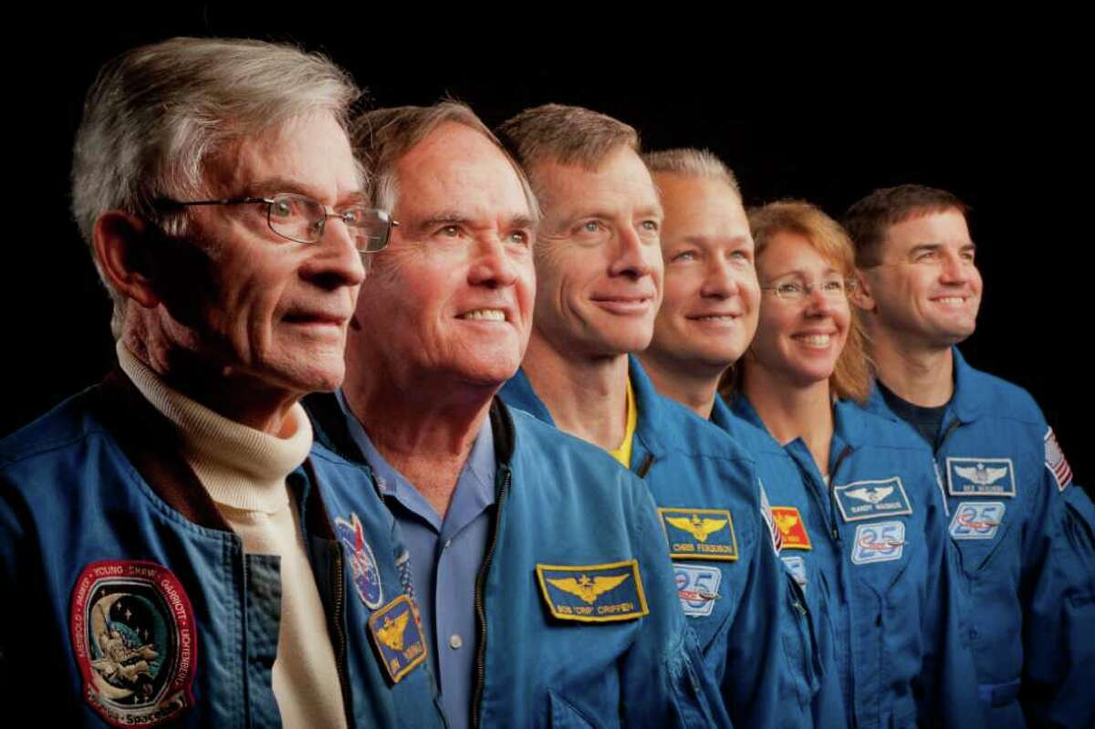 The astronauts from crews of STS-1, the first space shuttle mission, and STS-135, the final mission, meet at Johnson Space Center in Houston. From left, John Young, Robert Crippen, Chris Ferguson, Doug Hurley, Sandy Magnus and Rex Walheim.