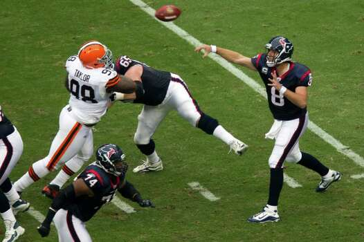 Houston Texans quarterback Matt Schaub (8) fires a pass over Cleveland Browns defensive tackle Phillip Taylor (98) during the first quarter of an NFL football game at Reliant Stadium on Sunday, Nov. 6, 2011, in Houston. Photo: Smiley N. Pool, Houston Chronicle / © 2011  Houston Chronicle