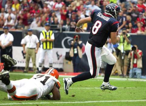 Houston Texans quarterback Matt Schaub (8) breaks away from Cleveland Browns defensive tackle Ahtyba Rubin (71) for a 2-yard touchdown run during the first quarter of an NFL football game at Reliant Stadium on Sunday, Nov. 6, 2011, in Houston. The Texans beat the Browns 30-12. Photo: Brett Coomer, Houston Chronicle / © 2011  Houston Chronicle