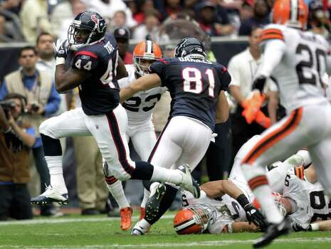Houston Texans running back Ben Tate (44) sprints through the Cleveland Browns defense during the second quarter of an NFL football game at Reliant Stadium on Sunday, Nov. 6, 2011, in Houston.  The Texans beat the Browns 30-12. Photo: Brett Coomer, Houston Chronicle / © 2011  Houston Chronicle