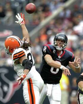 Houston Texans quarterback Matt Schaub (8) throws a pass over the Cleveland Browns defense during the third quarter of an NFL football game at Reliant Stadium on Sunday, Nov. 6, 2011, in Houston. The Texans beat the Browns 30-12. Photo: Brett Coomer, Houston Chronicle / © 2011  Houston Chronicle