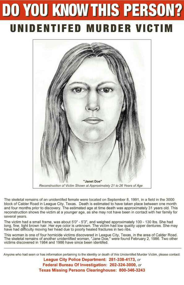 "These are sketches of Jane Doe and Janet Doe in League City's ""killing fields."" Please note that the flyer has the word ""Unidentified"" misspelled.  ¤"