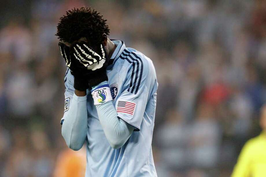KANSAS CITY, KS - NOVEMBER 06:  Kei Kamara #23 of the Sporting Kansas City reacts to a missed goad opportunity against the Houston Dynamo in the second half during the MLS Eastern Conference Championship match at Livestrong Sporting Park on November 06, 2011 in Kansas City, Kansas. Photo: Kyle Rivas, Getty / 2011 Getty Images
