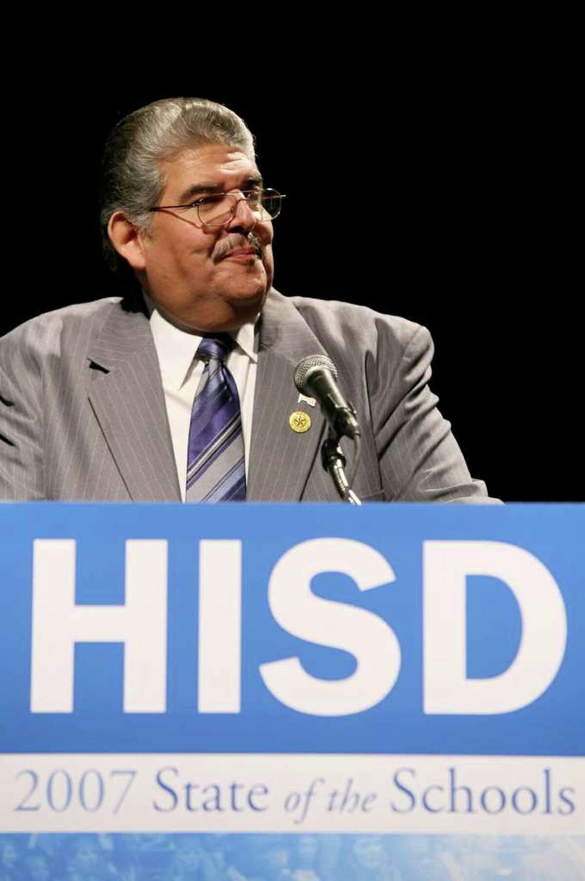 HISD Trustee Manuel Rodriguez speaks at the State of The Schools Address at the George R. Brown Convention Center in Houston, Texas on Friday, Feb. 09, 2007. Rodriguez died July 19, 2017. (Erin Trieb / For The Chronicle)