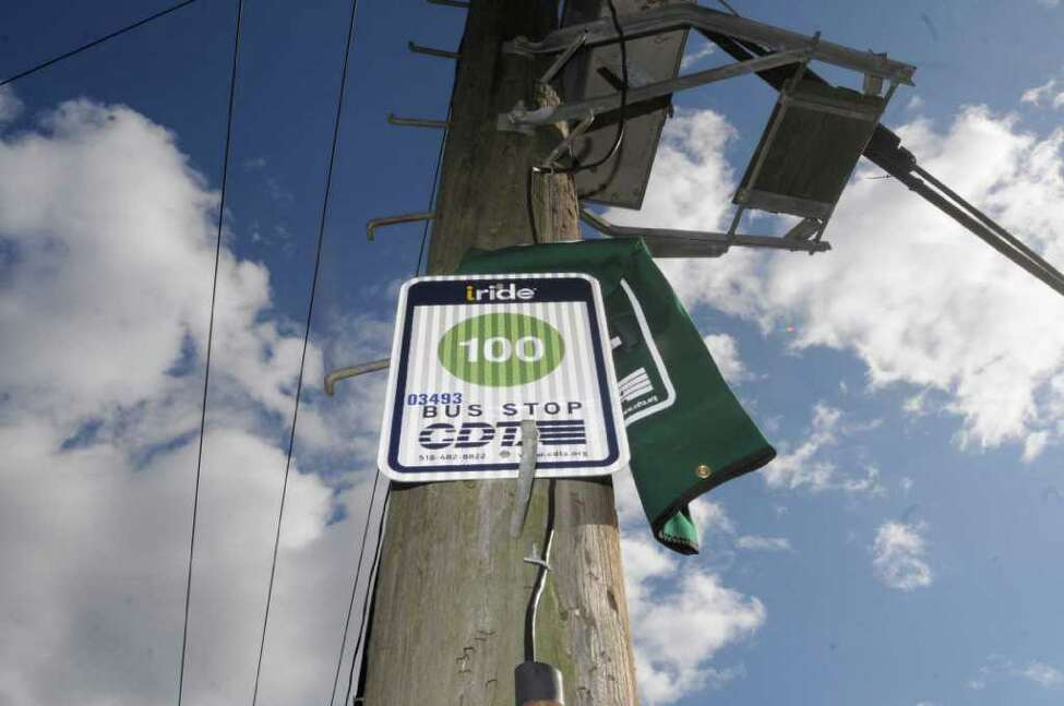 CDTA's new bus sign for bus service up Morton Avenue. New bus shelters are expected to be built at the corner of Moton Avenue and Elizabeth Street, but work has not started yet in Albany, NY Friday, Nov.4, 2011.( Michael P. Farrell/Times Union)