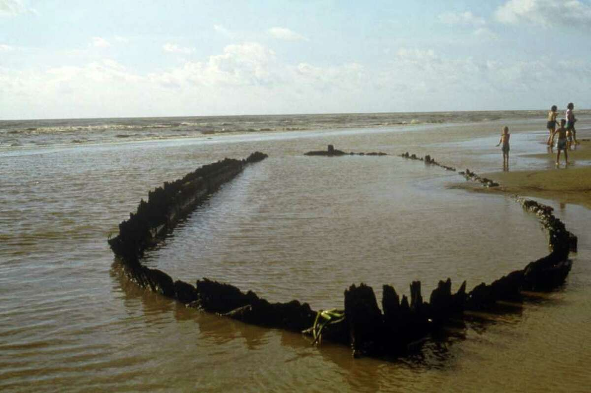 A ship in deep South Texas periodically appears above the water. Many other sunken ships could be seen again as Texas' rivers and lakes dry up.
