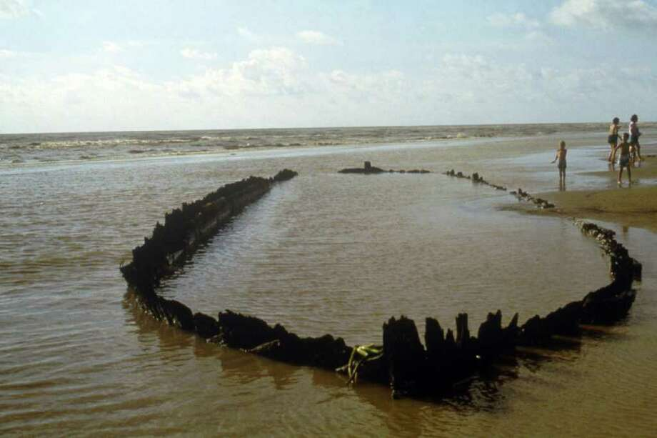 A ship in deep South Texas periodically appears above the water. Many other sunken ships could be seen again as Texas' rivers and lakes dry up. Photo: Courtesy Of The Texas Historical Commission / Texas Historical Commission