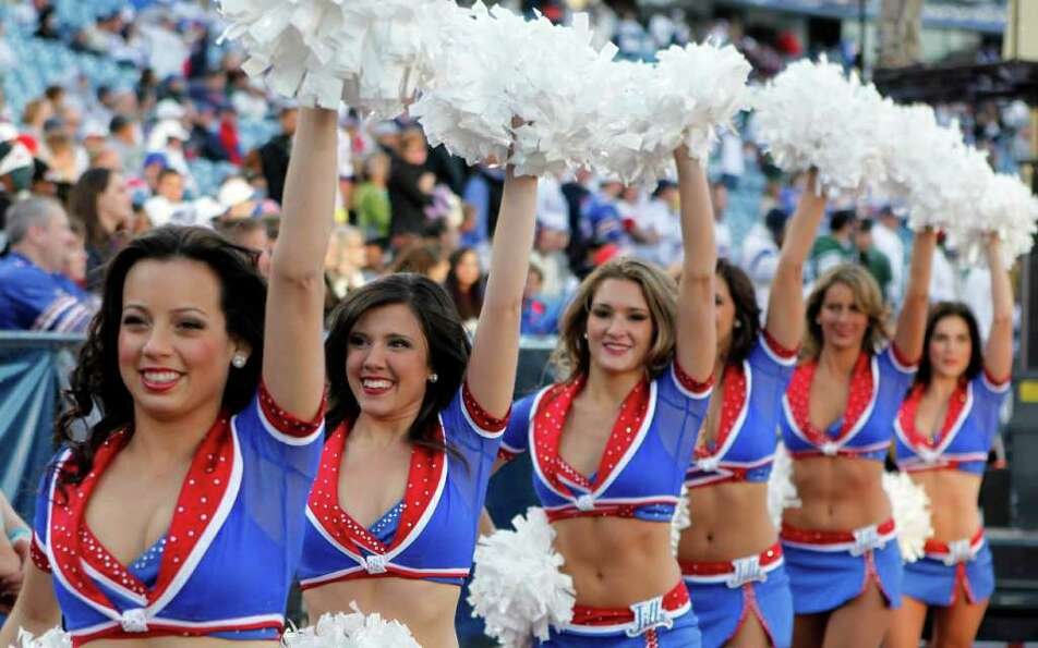 Buffalo Bills cheerleaders perform against the New York Jets during the second half of an NFL footba