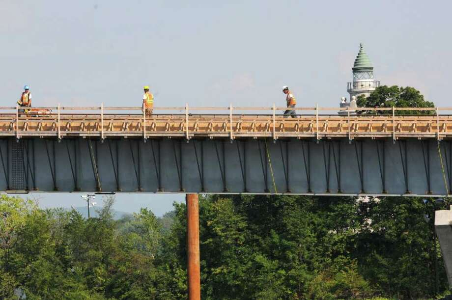 Champlain Bridge under construction from Crown Point , N.Y.  on Thursday, Aug. 18, 2011.  (Lori Van Buren / Times Union) Photo: Lori Van Buren / 00014329A