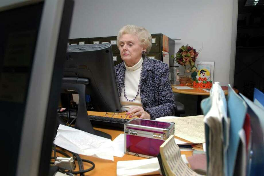 Fran Guinta, a former teacher and homemaker, has been an assistant registrar in Stamford, Conn. for several years and has volunteered to work every election year for the Democratic Registrar's since 1984, she's photographed at work on Monday November 7, 2011. Photo: Dru Nadler / Stamford Advocate Freelance