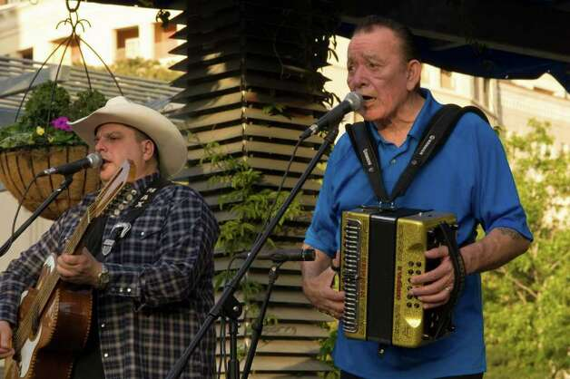 Flaco Jimenez with Max Baca. Photo Courtesy: Main Plaza Conservancy