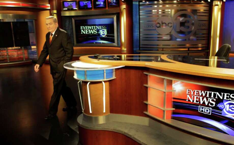 Dave Ward, news anchor, leaves from the anchor desk at Channel 13 Studio, 3310 Bissonnet, 3310 Bissonnet, Friday, Oct. 28, 2011, in Houston. Dave's 45th anniversary at KTRK is on November 9.  On November 5, he will be inducted into the Silver Circle of the Lone Star Chapter of the Emmy's Academy of TV, Arts and Sciences. He will be awarded a Lifetime achievement award in News Broadcast/TV. ( Melissa Phillip / Houston Chronicle ) Photo: Melissa Phillip / © 2011 Houston Chronicle