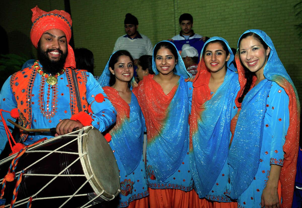 Deshmesh Singh (from left), Shivani Puri, Navjot Brar, Simrita Chamdal and Inez Escandon at Diwali, the Festival of Lights, Saturday, Nov. 5, 2011, at HemisFair Park.