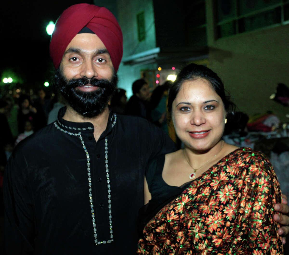 Harvinder Singh and wife Neelu Kaur at Diwali, the Festival of Lights, Saturday, Nov. 5, 2011, at HemisFair Park.