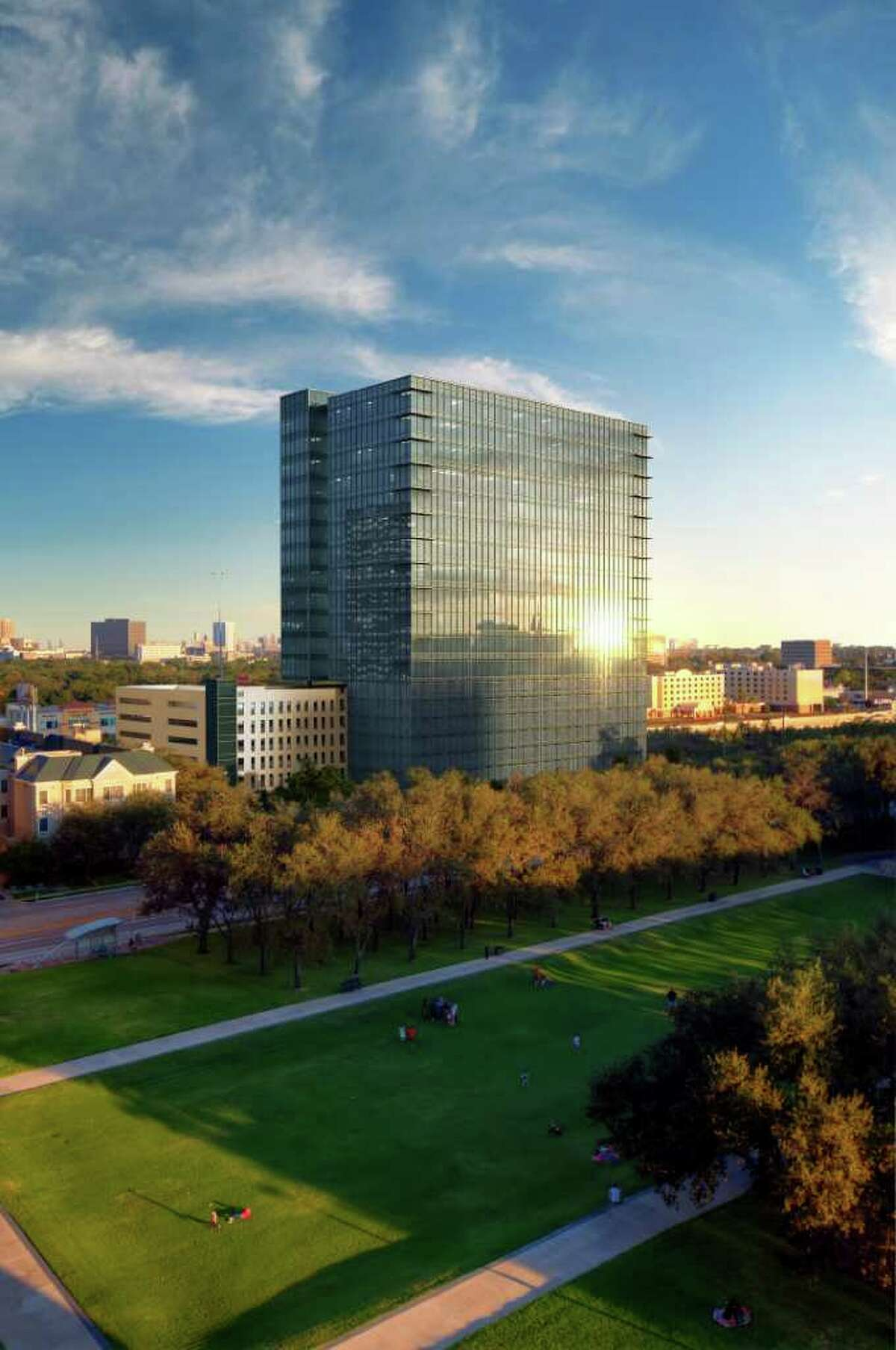 Skanska USA UPTOWN: Skanska USA Commercial Development has received a building permit for a tower across from the Water Wall near Williams Tower.