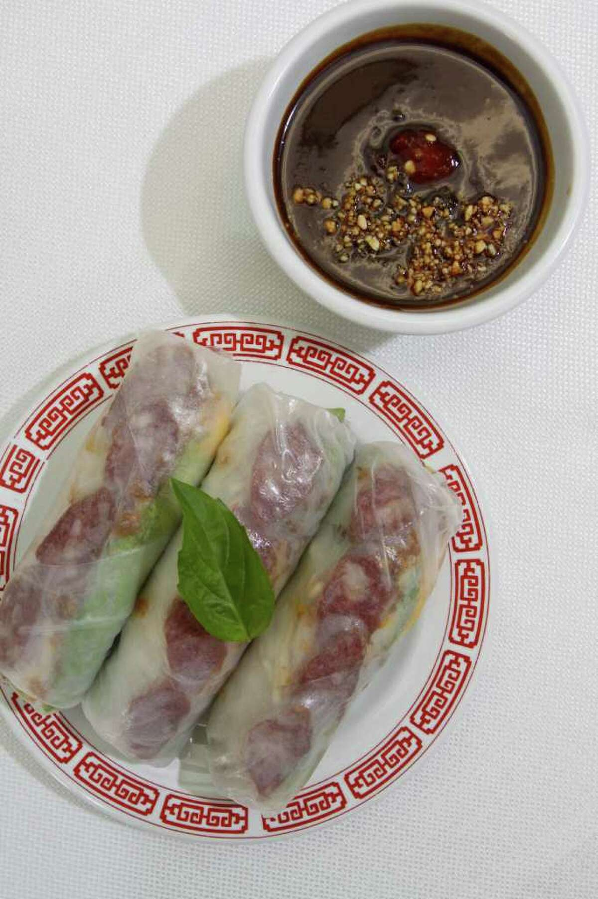 (For the Chronicle/Gary Fountain, November 5, 2011) Bo' Bia' (autumn rolls) at Cafe TH at 2108 Pease Street.