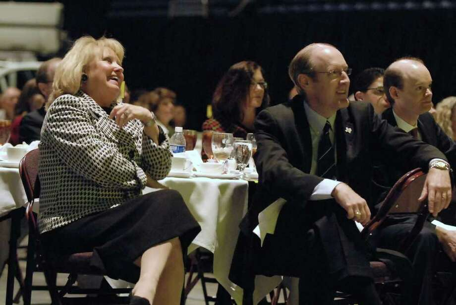 ATTENTIVE AUDIENCE: Mary Evans, president, Cy-Fair Houston Chamber of Commerce; John Barton, interim deputy executive director, Texas Department of Transportation; and Peter Key, director, Harris County Toll Road Authority, listen to the speakers. Photo: Tony Bullard / Credit: for the Chronicle