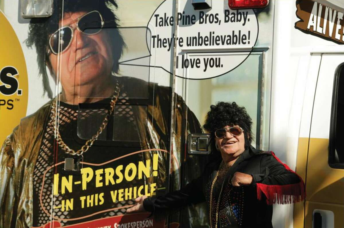 """Rockabilly singer Rudy """"Tutti"""" Grayzell is the new pitchman for Pine Bros. Softish Throat Drops."""