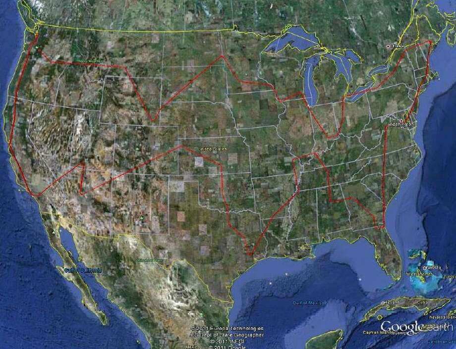 The flight path of a Boeing 747-8 Intercontinental flight over the lower 48 states on Wednesday, Nov. 2, 2011. (Boeing)