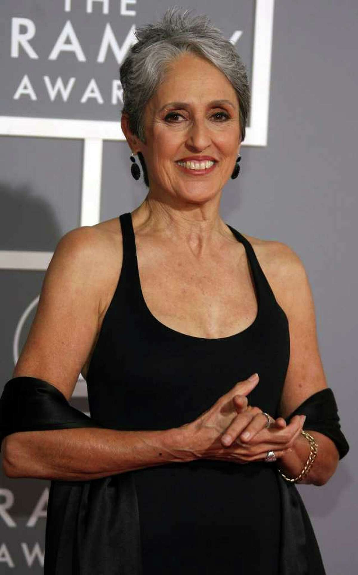 Musician Joan Baez arrives at the 49th Annual Grammy Awards at the Staples Center on Feb. 11, 2007, in Los Angeles. She will be performing in Stamford at the Palace Theatre, Tuesday, Nov. 15. (Frazer Harrison/Getty Images)