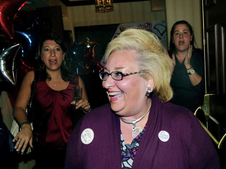 Greenwich Town Clerk Carmella Budkins celebrates her election victory at the Milbrook Club, Greenwich, Tuesday night, Nov. 8, 2011. Photo: Bob Luckey / Greenwich Time