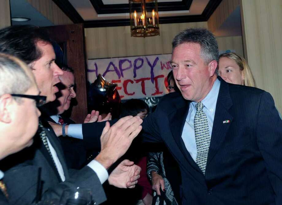 Greenwich Tax Collector Tod Laudonia celebrates his election victory at the Milbrook Club, Greenwich, Tuesday night, Nov. 8, 2011. Photo: Bob Luckey / Greenwich Time