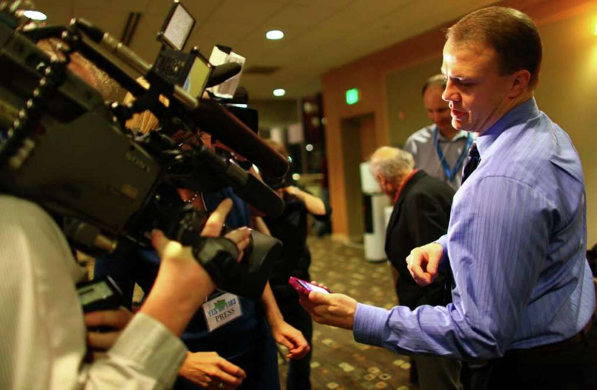 The most dangerous place to be in Washington state politics is between Tim Eyman and a TV camera.