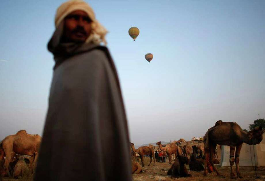 An Indian camel herder walks past camels during a camel fair in Pushkar. The Pushkar fair is an annual five-day event and  one of the world's largest camel fairs, with over 50,000 camels brought in from around the region. Photo: ANDREW CABALLERO-REYNOLDS, Getty / AFP