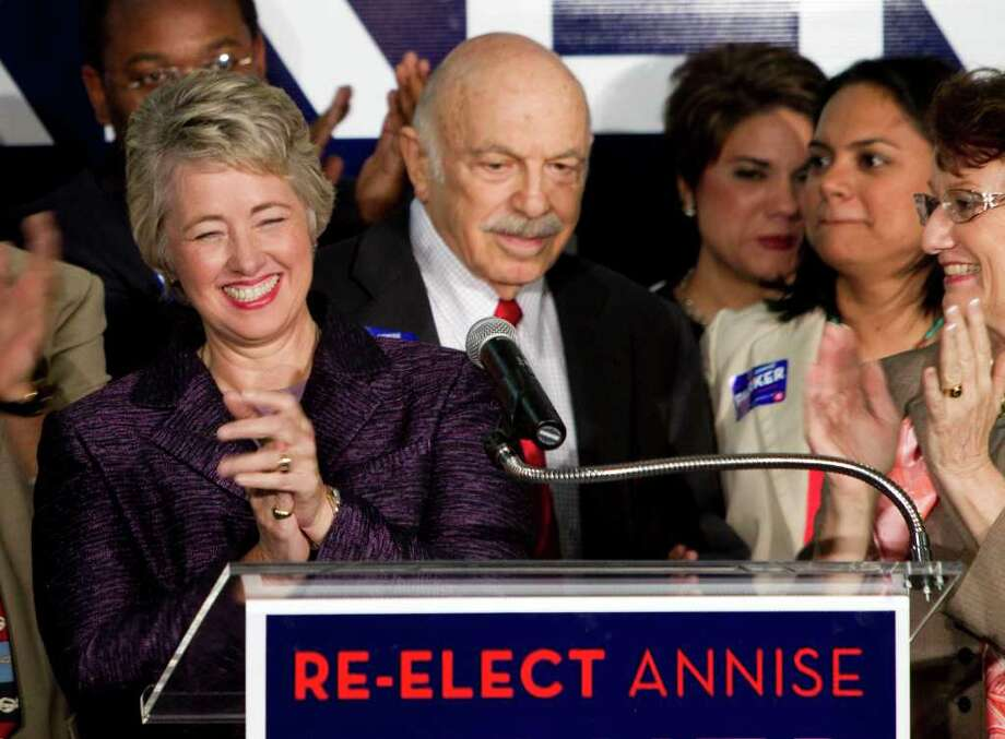BRETT COOMER : CHRONICLE CELEBRATION: Mayor Annise Parker greets supporters, including Ed Wulfe, right,  at a victory party at Minute Maid Park. Photo: Brett Coomer / © 2011 Houston Chronicle
