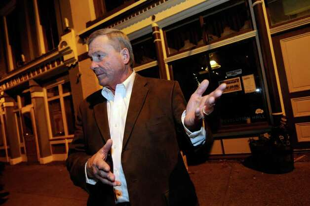 Incumbent Rensselaer Sheriff Jack Mahar talks outside the Rensselaer Republican election night party at Revolution Hall in Troy, NY Tuesday, Nov.8, 2011.( Michael P. Farrell/Times Union) Photo: Michael P. Farrell