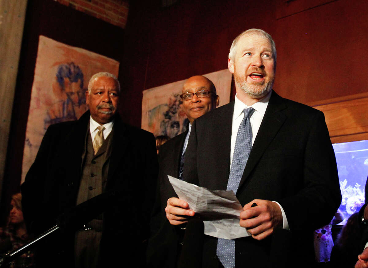 Seattle Mayor Mike McGinn speaks after learning that a $232 million Seattle education levy passed at the Elysian Fields restaurant in Seattle on Tuesday,