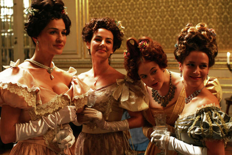 "(L-R) Sofia Aparício as Condessa de Penacova, Helena Coelho as Marquesa de St. Eulália, Catarina Wallenstein as Condessa de Arosa and Margarida Vilanova as Marquesa de Alfarela in ""Mysteries of Lisbon."""