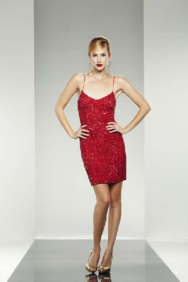 DRESS IT UP: This Theia dress, $595 at Saks Fifth Avenue, can work well with nude heels and light makeup. Photo: Red Sequin Cocktail Dress