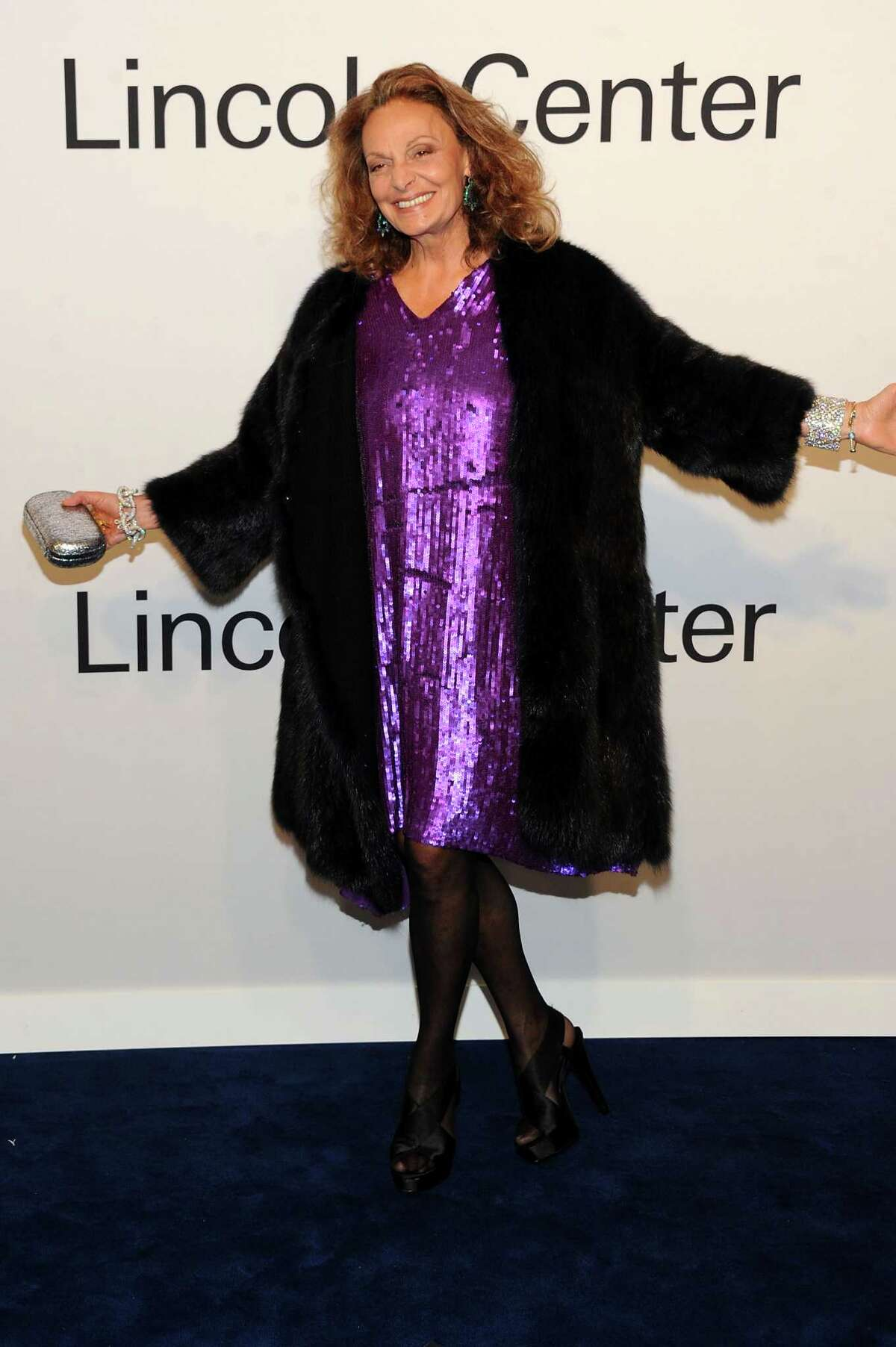 THE LEADER: Diane Von Furstenberg shows off one of her own creation. Black fur is the perfect contrast.