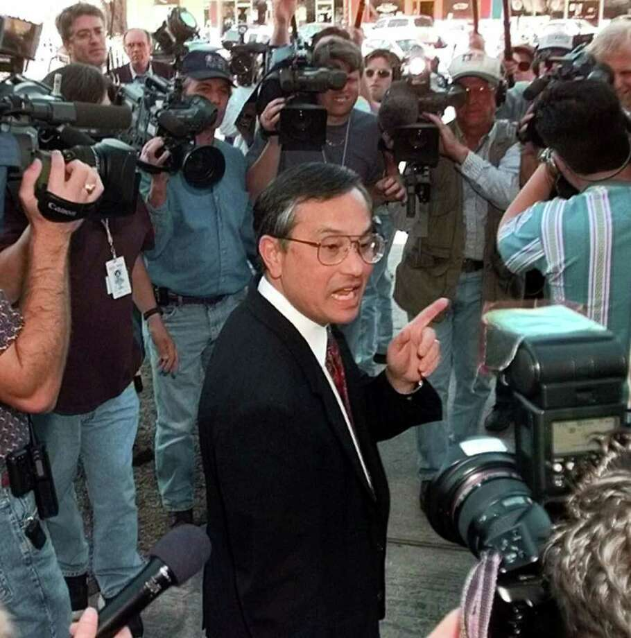 Dr. Walter Quijano, a former chief psychologist for the Texas prison system and now in private practice, talks to reporters after testifying in the punishment phase of John William King's trial Wednesday, Feb. 24, 1999, in Jasper, Texas. Quijano said King's lack of drug history and the fact that he used no weapons during previous crimes contributed to his sentiment for a life sentence. King, who was convicted of capital murder in the dragging death of James Byrd Jr., could get the death penalty for hiscrime. (AP Photo/David J. Phillip)       HOUCHRON CAPTION (06/07/2000):  Quijano.   HOUCHRON CAPTION (06/10/2000):  Clinical psychologist Walter Quijano of Conroe has testified in more than 100 capital cases.    HOUCHRON CAPTION (06/15/2000):  Four other cases involving sex offenders are under review by state  officials because Dr. Walter Quijano or an associate was to testify as an expert witness regarding race. Photo: DAVID J. PHILLIP / AP
