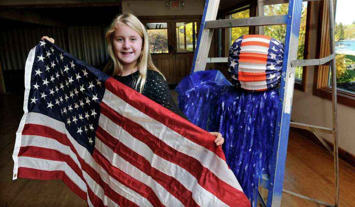 Elizabeth Fanzilla is turning 11 on Friday, 11/11/11. Her family is giving her a big, patriotic-themed party, since it is also Veterans Day. Photo taken Wednesday, Nov. 9, 2011.