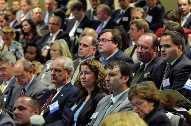 Attendees listen during the CEG Annual Meeting & 25th Anniversary at Albany Nanotech on Wednesday Nov. 9, 2011 in Albany, NY.  (Philip Kamrass / Times Union ) Photo: Philip Kamrass / 00015332A