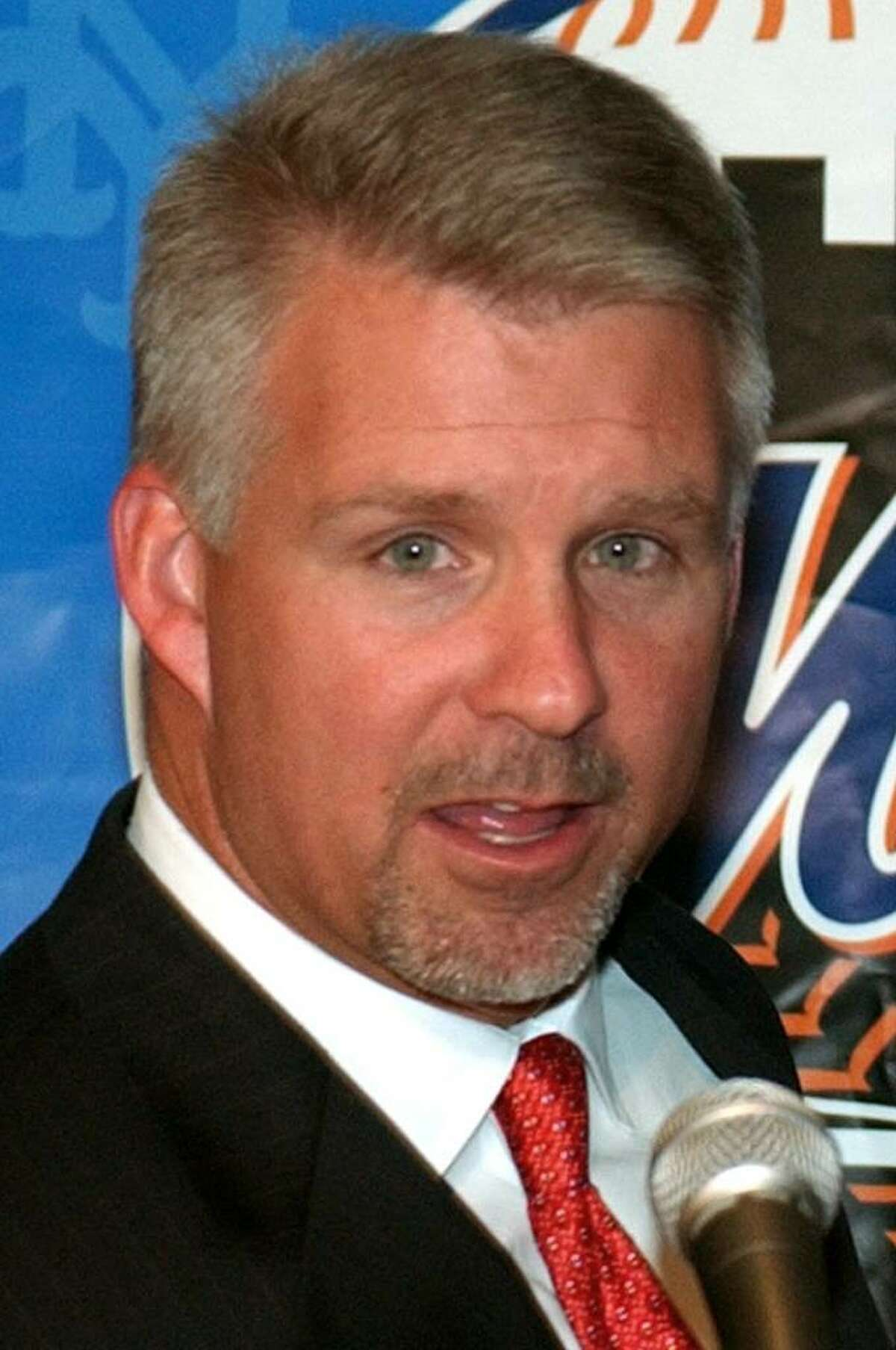 FILE - In this Oct. 28, 2002, file photo, New York Mets general manager Steve Phillips introduces new Mets manager Art Howe during a news conference at Shea Stadiium in New York. ESPN baseball analyst Steve Phillips admits having an affair with an assistant at the cable network who taunted his wife with phone calls and a letter graphically describing their relationship, the New York Post reported Wednesday, Oct. 21, 2009. (AP Photo/Kathy Willens)