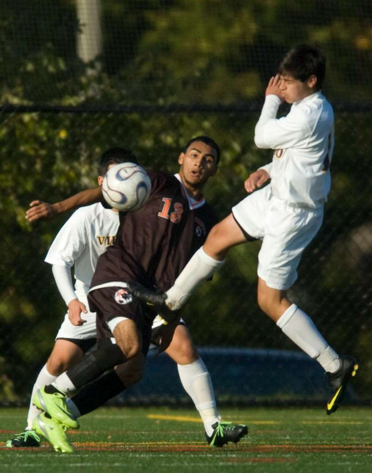 Stamford's Carlos Calix, left, and Westhill's Sebastian Rozo, right, during an FCIAC soccer game at Westhill High School in Stamford on Tuesday, Oct. 20, 2009.