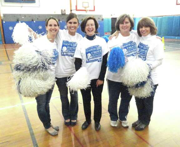 The Teachers Team, at Central Middle School's recent Teacher Vs. Students Basketball Event included, from left, Jennifer Voccola, Holly Hidalgo, Sue Stoga, Nancy James, and Cecilia Aita. Photo: Contributed Photo