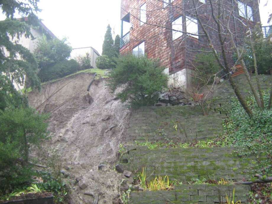 This landslide occurred last winter in the Mount Baker Neighborhood. Photo: Seattle Department Of Planning And Development
