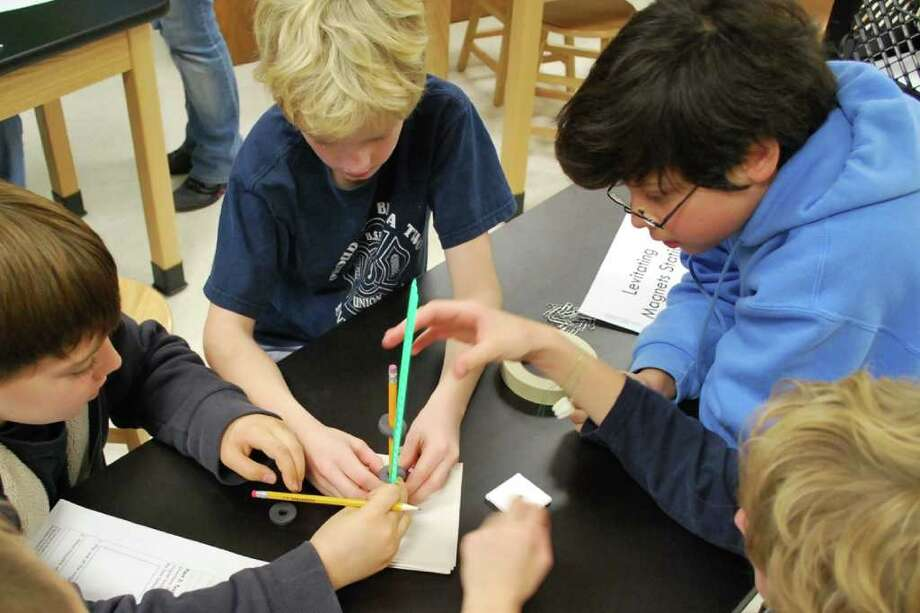 "Fifth graders from the Ballston Spa School District participate in ""Engineering is Elementary."" (Provided)"