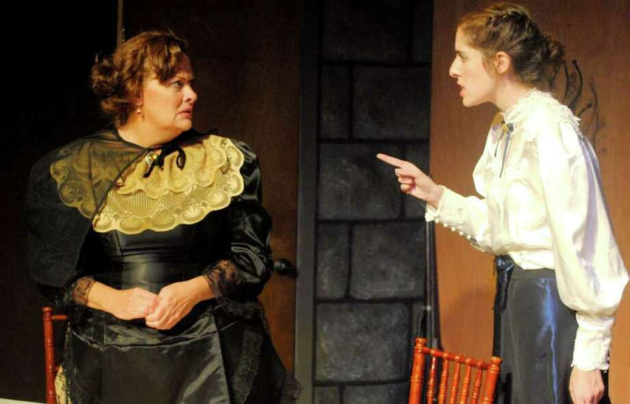 "Mrs. Warren, played by Judith Kealey, and Vivi, played by Jenny Gantwerker, in a scene from ""Mrs. Warren's Profession."" Photo: Contributed Photo"
