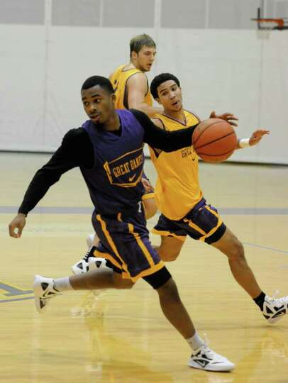 University at Albany men's basketball player Mike Black during a recent practice in Albany, NY Tuesd