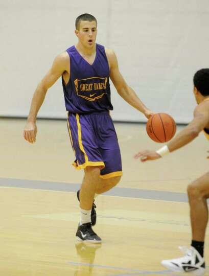 University at Albany men's basketball player Logan Aronhalt during a recent practice in Albany, NY T