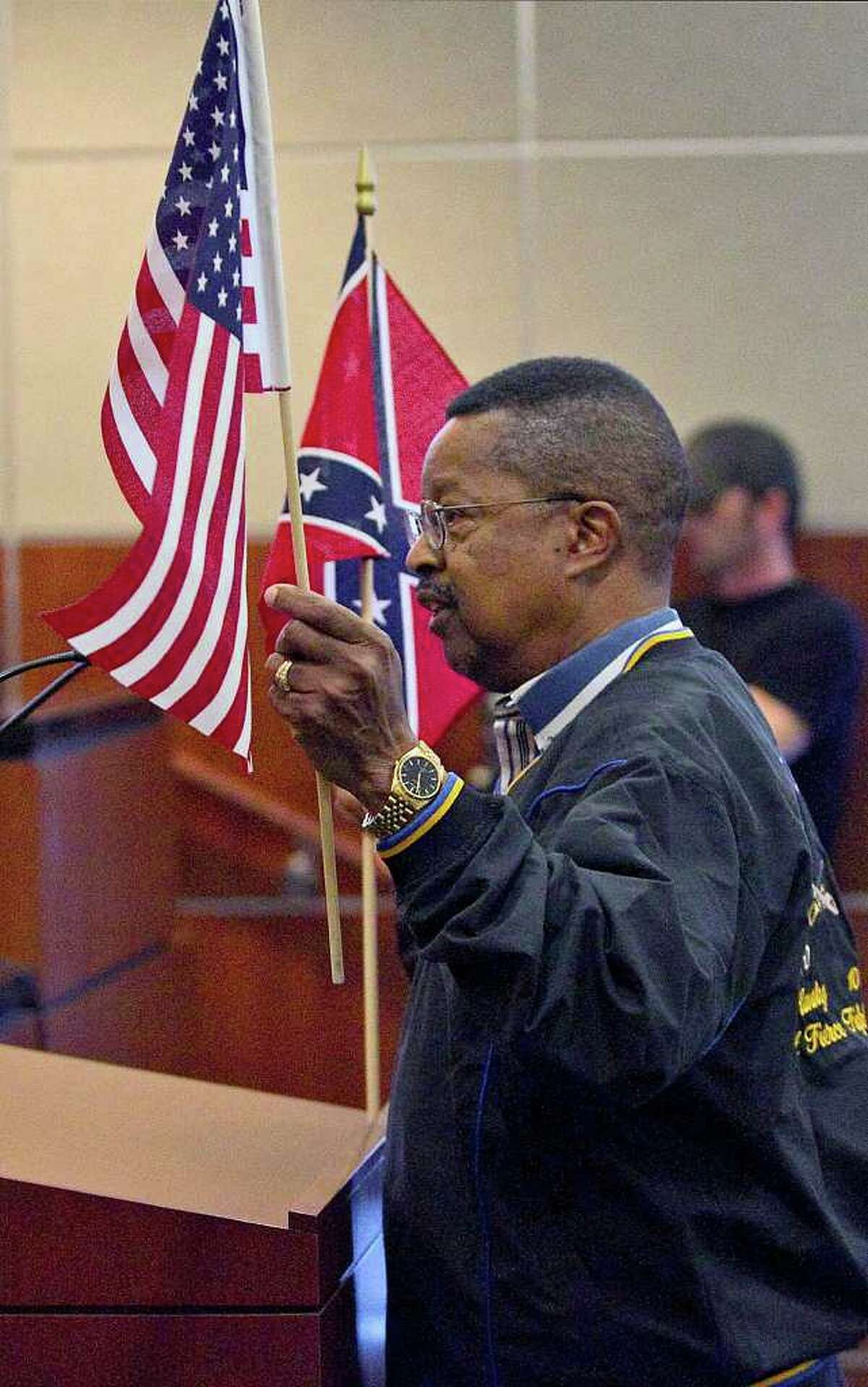 Captain Paul J. Matthews, Founder of the Buffalo Soldiers National Museum in Houston, appeared in Austin on Thursday, Nov. 10, as the board discussed the Confederate plates.