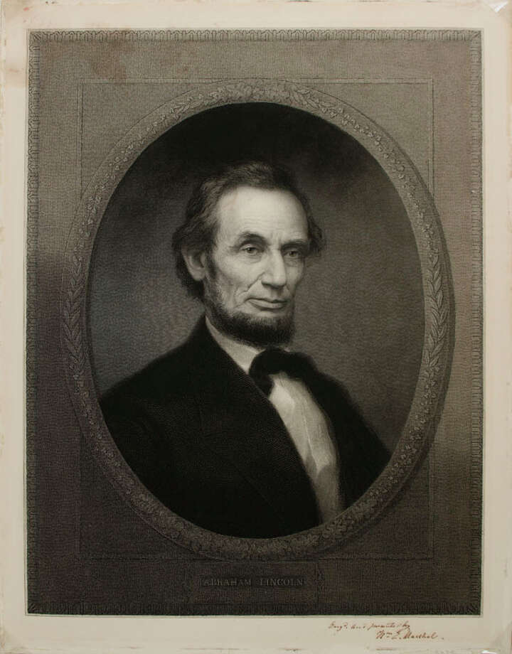 """Abraham Lincoln (1809-1865) William Edgar Marshall 1865 Engraving, ht.23 1/2"""" x w.18"""" Signed lower right """"Engd. and presented by /Wm. E Marshall"""" Albany Institute of History & Art, Gift of Mrs. Henry M. Sage, 1972.65"""