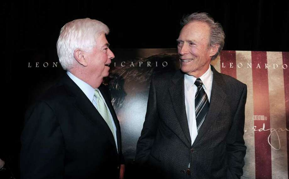 OLIVIER DOULIERY : ABACA PRESS | MCT friends or enemies?: Movie director Clint Eastwood, right, and Sen. Chris Dodd (D-Conn.) chat during the premiere of J. Edgar, Eastwood's new biopic about former FBI chief J. Edgar Hoover. Eastwood said he's voted for GOP candidates since Dwight Eisenhower's campaign in 1952. Photo: Olivier Douliery / Abaca Press
